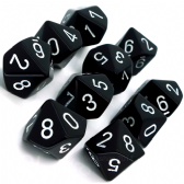 Black & White Opaque D10 Ten Sided Dice Set